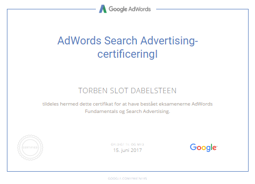 Google AdWords-Certificering